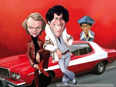 Starsky & Hutch (David Soul and Paul Michael Glaser) with Huggy Bear (Antonio Fargas). Cartoon Faces, Funny Faces, Cartoon Art, Cartoon Characters, Funny Caricatures, Celebrity Caricatures, Celebrity Drawings, Caricature Drawing, Comic Drawing