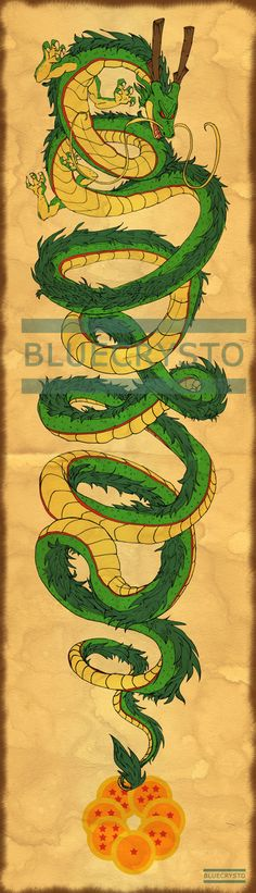Shenron Scroll by bluecrysto on Etsy - Visit now for 3D Dragon Ball Z shirts now…