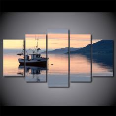 HD printed 5 piece canvas art calm lake sailboat dusk clouds painting wall pictures for living room free shipping CU-2024B