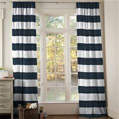 Navy And White Nautical Nursery Decor Curtains Blue Horizontal Striped