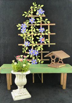 Miniature Gardening Bench, Trellis and Accessories Tutorial