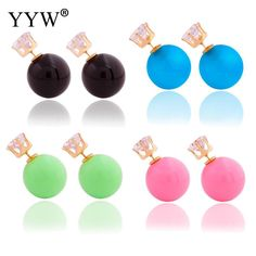 Fashion Womens Jewelry Rose Gold white black Color Ear Stud Earrings Elegant Women Girl Lady Party Wedding Bridal Jewelry #Affiliate