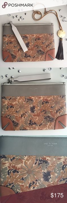 🌾🌴Rag & Bone Clutch🌴🌾 NWOT rag & bone clutch in the botanical print pattern. Sturdy and quality you can feel, supple leather and gorgeous tones. This is one I don't really wanna list because I want it to be mine! 🙈😂 No flaws, scratches or defects. Brand new ✨ (Shield necklace in separate listing) rag & bone Bags Clutches & Wristlets