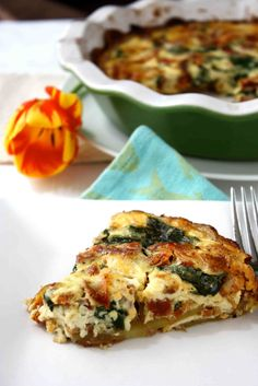 Potato-Crusted Quiche Recipe with Pancetta, Sun-Dried Tomatoes & Spinach