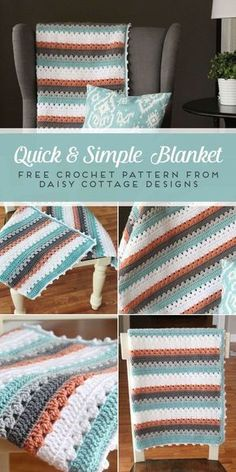 Use this blanket crochet pattern from Daisy Cottage Designs to create a beautiful afghan in any color way. | free crochet pattern, easy crochet pattern, free blanket crochet pattern, granny stripe crochet pattern #freecrochetblanket #easycrochetblanket #crochetpattern #grannycrochet #freecrochetpattern #crochet