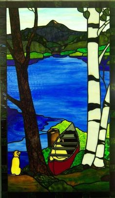 Custom Stained Glass New Hampshire Lake scene with canoe birch tree and yellow lab dog by Rosemarie Ferry from Conway New Hampshire Stained Glass Shack www. Custom Stained Glass, Stained Glass Designs, Stained Glass Panels, Stained Glass Projects, Stained Glass Patterns, Stained Glass Art, Mosaic Art, Mosaic Glass, Mosaic Mirrors