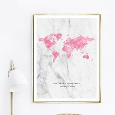 Positive Affirmation Pink Map Grey Marble Background Wonderful World Quote Wall Art Fine Art Canvas Prints Nordic Home Decor Canvas Quotes, Wall Art Quotes, Quote Wall, World Map Bedroom, City Map Poster, Poster Wall, Wall Art Pictures, Map Pictures, Photos