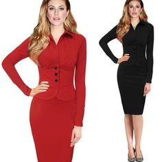 2015 XXL Autumn Black Red Long Sleeve Ruffles Pencil Women Ladies Dress Vestidos Sexy Party Night Club Cocktail Office Work