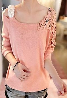 Sequin Lace Flower Shoulder Long Sleeve Knitted Blouse