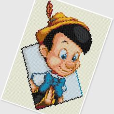 PDF Cross Stitch pattern 0252.Pinocchio by PDFcrossstitch on Etsy