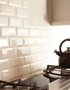 Beveled Subway Tiles = Love! Subway Tile Bathroom Ideas | Urban Collection Classics | Materials Marketing