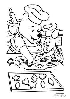 Nalle Puh ja Nasu leipomassa -värityskuva. Lasten Oman Kirjakerhon tulostettavat värityskuvat. Free printable pattern. lasten | askartelu | käsityöt | värittäminen | DIY ideas | kid crafts | colouring