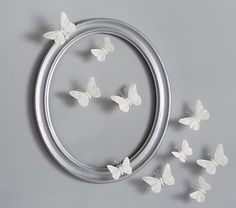 White Feather Butterflies Set