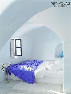 Mediterranean Inspired . Greek White Alcove Bedroom . Pop of Violet Bedspread