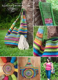 Bolsa de crochê colorida
