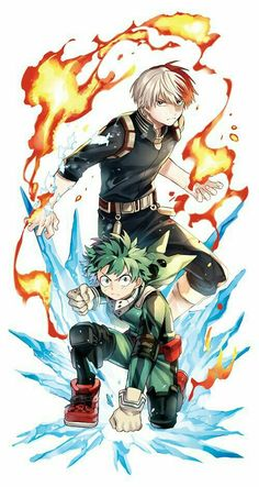 Izuku, Shouto, Quirks, cool, heroes, suits, outfits, uniforms; My Hero Academia