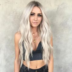 Hair Color 2018 Long Platinum Blonde Hair Wavy ❤️ Platinum blonde is one of the biggest trends in the fashion industry, and not only nowadays, but it has also been popular for ages. That is why today we are going to talk about all the trendiest blo. Ashy Blonde Hair, White Blonde Hair, Long Blond Hair, Long Blonde Hairstyles, Long Silver Hair, White Blonde Highlights, Platinum Highlights, Beautiful Blonde Hair, Makeup With Blonde Hair