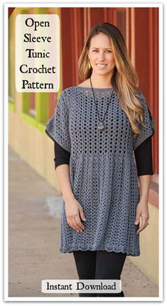 This figure-flattering openwork pattern and split sleeves make this design perfect for today's fashions. Instant PDF download. #ad #affiliate #crochet #pattern