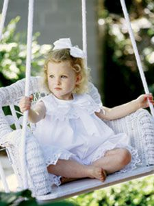 Childs Wicker Swing - White