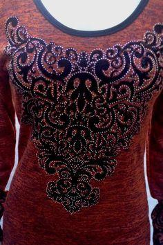 Vocal Burnt Orange Long Sleeve Shirt  - Womens Fashion - FREE SHIP #VocalApparel #Trimnecklinelongsleeve #Casual