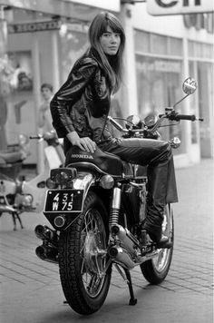 Françoise Hardy on the Honda 750 | From a unique collection of black and white photography at https://www.1stdibs.com/art/photography/black-white-photography/
