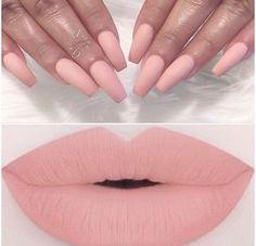 Matte Blush Pink Lips & Nails