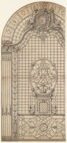 Design for the Wrought-Iron Entrance Grille of a Chapel Gilles-Marie Oppenord (French, Paris 1672–1742 Paris), ca. 1700–1720