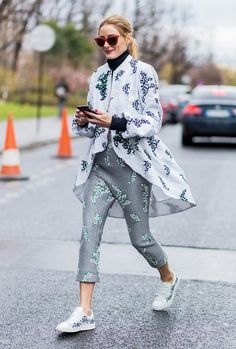 Olivia Palermo coordinates prints and sneakers.