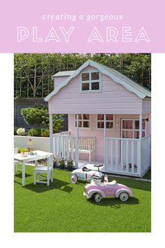 How divine is this outdoor play area. What better way to encourage the little ones to make the most of the spring and summer sunshine than with their own doll house and outdoor dining set. Another fabulous way to maximise the year round view from the insi