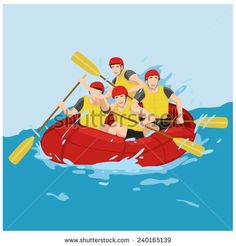 vector illustration group of fun rafting boat - stock vector
