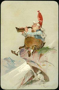 Bergslien solgt for kr Kewpie, Fantasy Creatures, Gnomes, Troll, Norway, Illustration Art, Christmas Postcards, Painting, Costumes