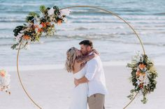 Gold Metal Circle Wedding Arbor - The Wedding Shop Bamboo Wedding Arch, Wedding Ceremony Backdrop, Cyprus Wedding, Punta Cana Wedding, Bohemian Wedding Decorations, Geometric Wedding, Wedding Colors, Wedding Flowers, Wedding Stuff