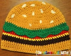 Cheeseburger Hat Free Crochet Pattern
