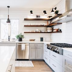 10 Noble Clever Tips: Open Kitchen Remodel Ideas kitchen remodel flooring stove.Kitchen Remodel Before And After Diy. Floating Shelves Kitchen, Kitchen Shelves, Kitchen Decor, Open Shelves, Glass Shelves, Diy Kitchen, Kitchens With Open Shelving, Shiplap In Kitchen, Open Cabinets In Kitchen