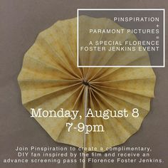 Join @pinspirationaz tomorrow night for an event with Paramount Pictures and the  upcoming release of #florencefosterjenkins which opens in theaters August 12. Attendees will receive a pass for the advance screening on August 9th (as well as raffles for promotional prizes including tank tops paper fans hair towels etc.) Atendees will also make a paper fan inspired by the film. This event is free of charge. Please RSVP by calling the studio or emailing info@pinspirationaz.com…