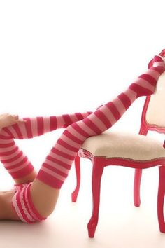 .Striped pink thigh high socks