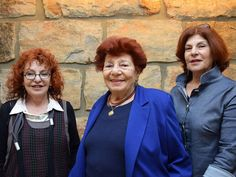 The Holocaust survivor Esther Miron with her daughters before the opening ceremony marking Holocaust Martyr's and Heroes' Remembrance Day 2017 at Yad Vashem. Esther Miron gave the address on behalf of the survivors during the ceremony.
