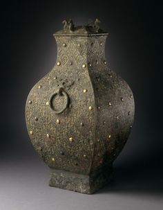 Lidded Square Wine Storage Jar (Fanghu) with Lozenges and Knobs | LACMA Collections