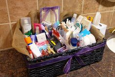 Bathroom baskets for wedding reception guests. For emergency needs: mouthwash, pain relievers, crackers, pantyhose, hair spray, and more...great idea!