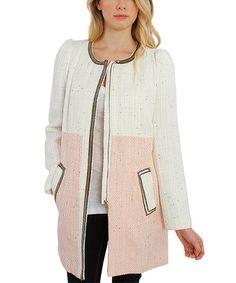 Pink Two-Tone Tweed Wool-Blend Coat