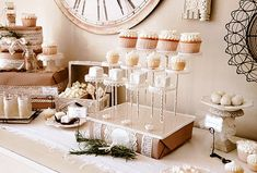 vintage French dessert table in kraft and creamy white  {treats shown displayed on The Pastry Pedestal}