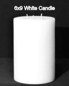 Pillar Candle - White, 6x9, Unscented, Hand Poured (3 wick)