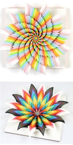 Fluorescent acid-free paper shaped into colorful wall art.