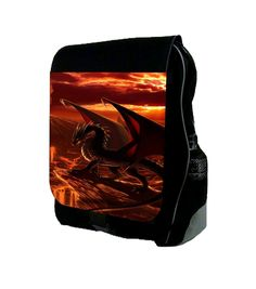 """Dragon Horizon© TM School Backpack Made in the U.S.A. Multi-Purpose Backpack that expands to approximately 6"""" and is made to fit folders, binders, notebooks, school supplies, laptops (17"""" and less) and other accessories, while being durable and light enough to transport; Durable Black Polyester; Front Flap with Vibrantly Printed Design;. Large Zippered Pocket with Several Inner Pockets for Extra Organization;Front Flap Closes with Buckle Clasp ; Adjustable Straps; Dimensions are..."""