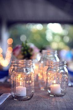 Simple DIY Centerpieces :: Mason Jars and Votive Candles