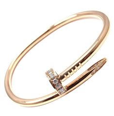 View this item and discover similar for sale at - Rose Gold Diamond Juste Un Clou Nail Bangle Bracelet Size 17 by CARTIER. This beautiful bracelet comes with its Cartier box and Cartier certificate. Cartier Nail Bracelet, Cartier Jewelry, Gold Bangle Bracelet, Diamond Bracelets, Jewellery, The Bangles, Love Bracelets, Fashion Bracelets, Jewelry Bracelets