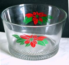 Clear Glass Ice Bucket with Poinsettias vintage Mid Century Modern FREE SH
