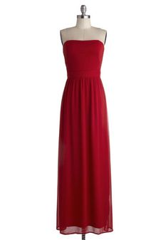 Auspicious Occaion Dress - Long, Chiffon, Woven, Red, Solid, Formal, Prom, Wedding, Party, Bridesmaid, Minimal, Maxi, Strapless