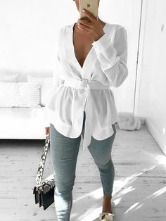 Button V-Neck Plain Long Sleeve Slim Womens Blouse We Offer Top Good Quality Cheap Clothes For Women And Men Clothing Wholesaler, Get Affordable Clothing At Worldwide. Satin Shirt, White Belt, Blouse Styles, Jeans, Blouses For Women, Coupons, Like4like, Dresses With Sleeves, Long Sleeve
