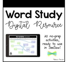 Digital word study resources ready to use in SeeSaw! 20 no-prep pages, with 'how to' guide and examples to share with your class!